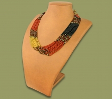 Beaded Necklace Zama Brown Black Gold