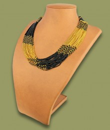 African Beaded Necklace Zama Gold Black