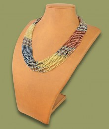 African Beaded Necklace Zama Copper Metallic White-Gold