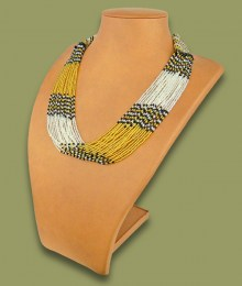 African Beaded Necklace Zama Gold Silver Black