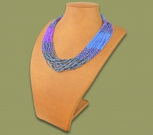 Beaded Necklace Zama Lilac Blue Metallic