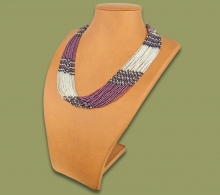 Beaded Necklace Zama Purple Silver Black