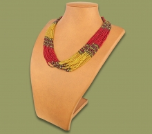 Beaded Necklace Zama Red Gold Black