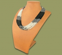 Beaded Necklace Zama Silver Black