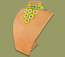 African Beaded Necklace Zulu Circle Style 2 Yellow