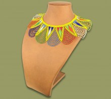 African Beaded Necklace Zulu Spear Fringe African Colours