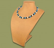 African Beaded Necklace Small Bobble Blue Silver Black