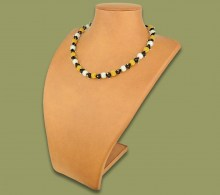 African Beaded Necklace Small Bobble Gold Silver Black