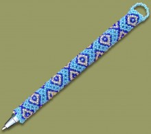 African Beaded Pen Diamond Blue Silver