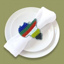 African Beaded Serviette Ring Stand SA Flag Africa Map
