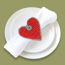 Beaded Serviette Ring Stand Xmas Heart