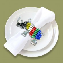 African Beaded Serviette Ring Stand SA Flag Rhino