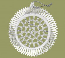 African Beaded Christmas Snowflake Silver White