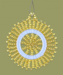 African Beaded Christmas Snowflake Gold
