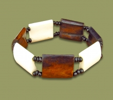 African Bone Bracelet White Brown