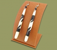 African Bone Earrings Long Brown White