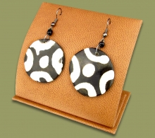 African Bone Earrings Round Brown White
