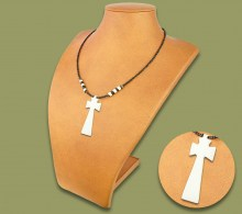 African Bone Necklace White Cross