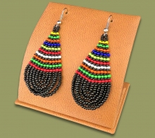African Colors Large Tear Drop Earrings Black
