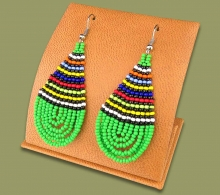 African Colors Large Tear Drop Earrings Green