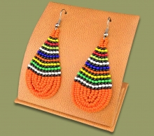 African Colors Large Tear Drop Earrings Orange