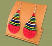 African Colors Large Tear Drop Earrings Red