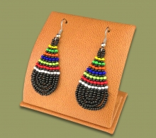 African Colors Small Tear Drop Earrings Black
