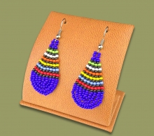 African Colors Small Tear Drop Earrings Blue