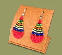 African Colors Small Tear Drop Earrings Red