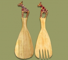 African Salad Servers Earth Africa Curio