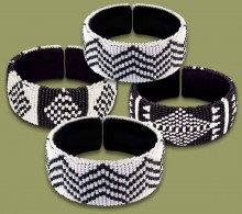 African Beaded Bangles Wide Black White MIXED