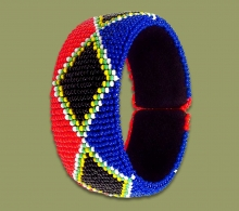 Beaded Bangle Wide SA Flag