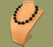 African Beaded Bobble Necklace Black