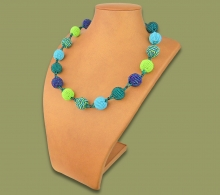 African Beaded Bobble Necklace Lime Navy Blue Jade