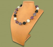 African Beaded Bobble Necklace Purple Silver Black