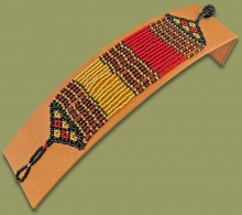 Beaded Bracelet Sibaya Red Gold Black