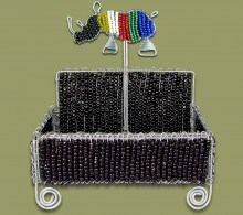 Beaded Business Card Holder SA Flag Rhino