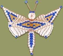 Beaded Butterfly Silver Blue