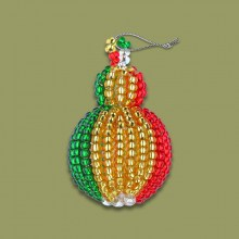 African Beaded Christmas Bobble Gold
