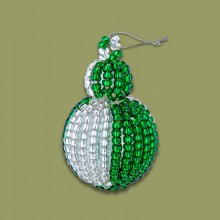 African Beaded Christmas Bobble Silver Green