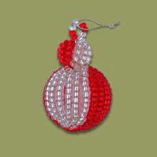 African Beaded Christmas Bobble Silver Red