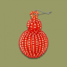 African Beaded Christmas Bobble Red