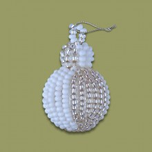 African Beaded Christmas Bobble Silver White