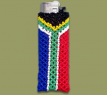 Beaded SA Flag Cigarette Lighter