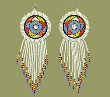 Large Circle Tassel Earrings White