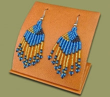 Beaded Short Tassel Earrings Blue Gold Black