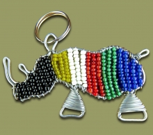 Beaded SA Flag Rhino Key ring