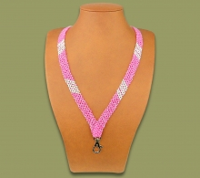 Beaded Lanyard Stripe Pink White