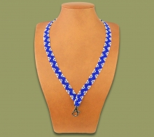 African Beaded Lanyards Zigzag Blue White