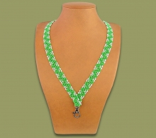 Beaded Lanyard Zigzag Green White